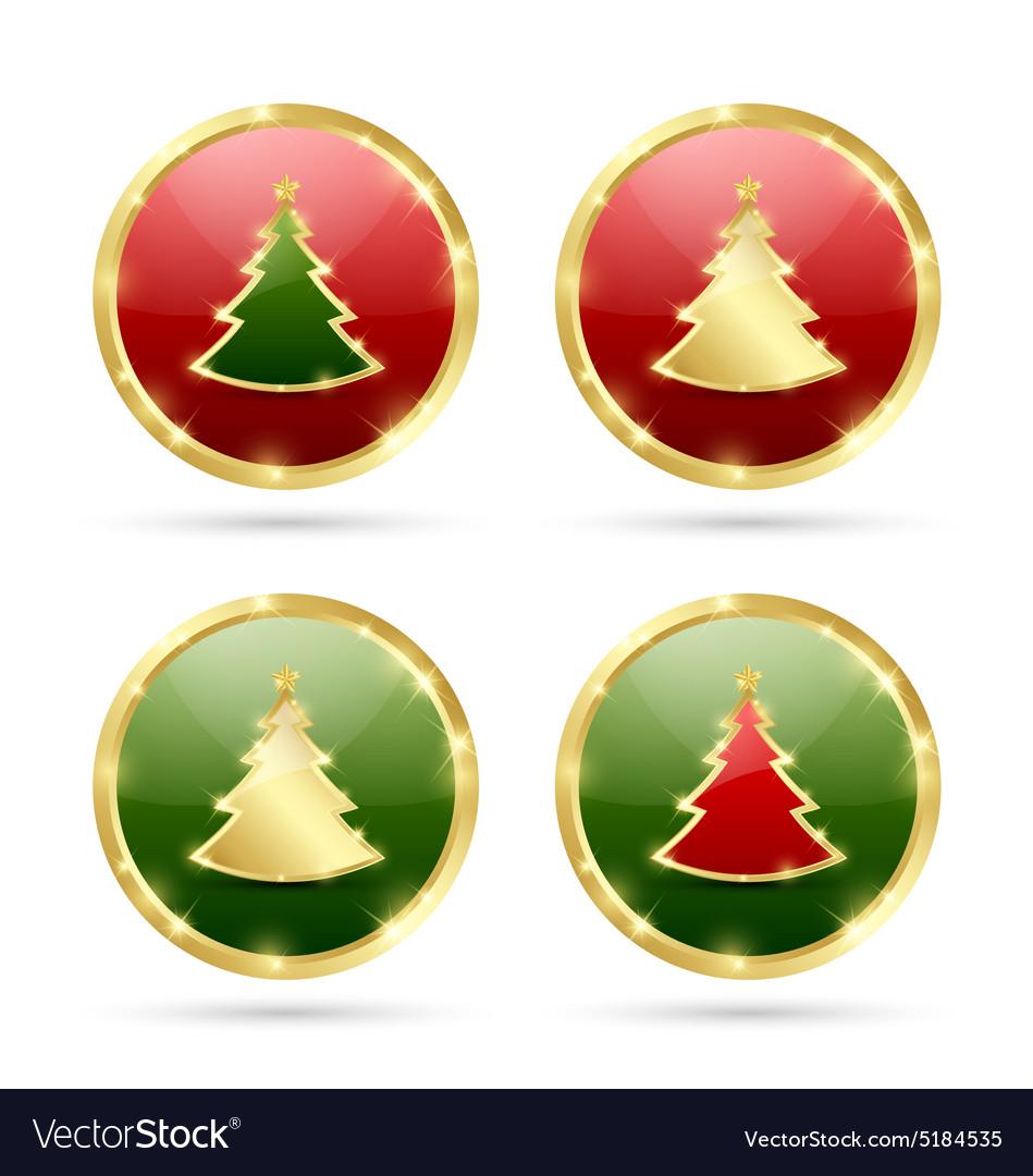 Christmas tree icons vector image