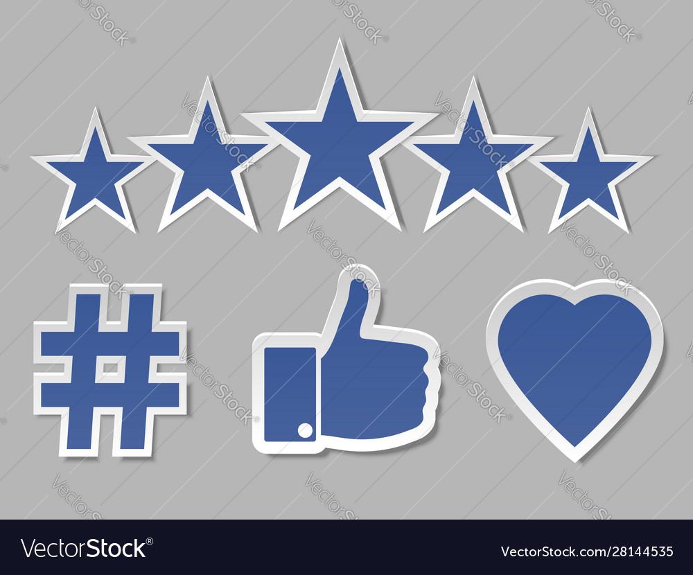 Paper social media networks symbols collection