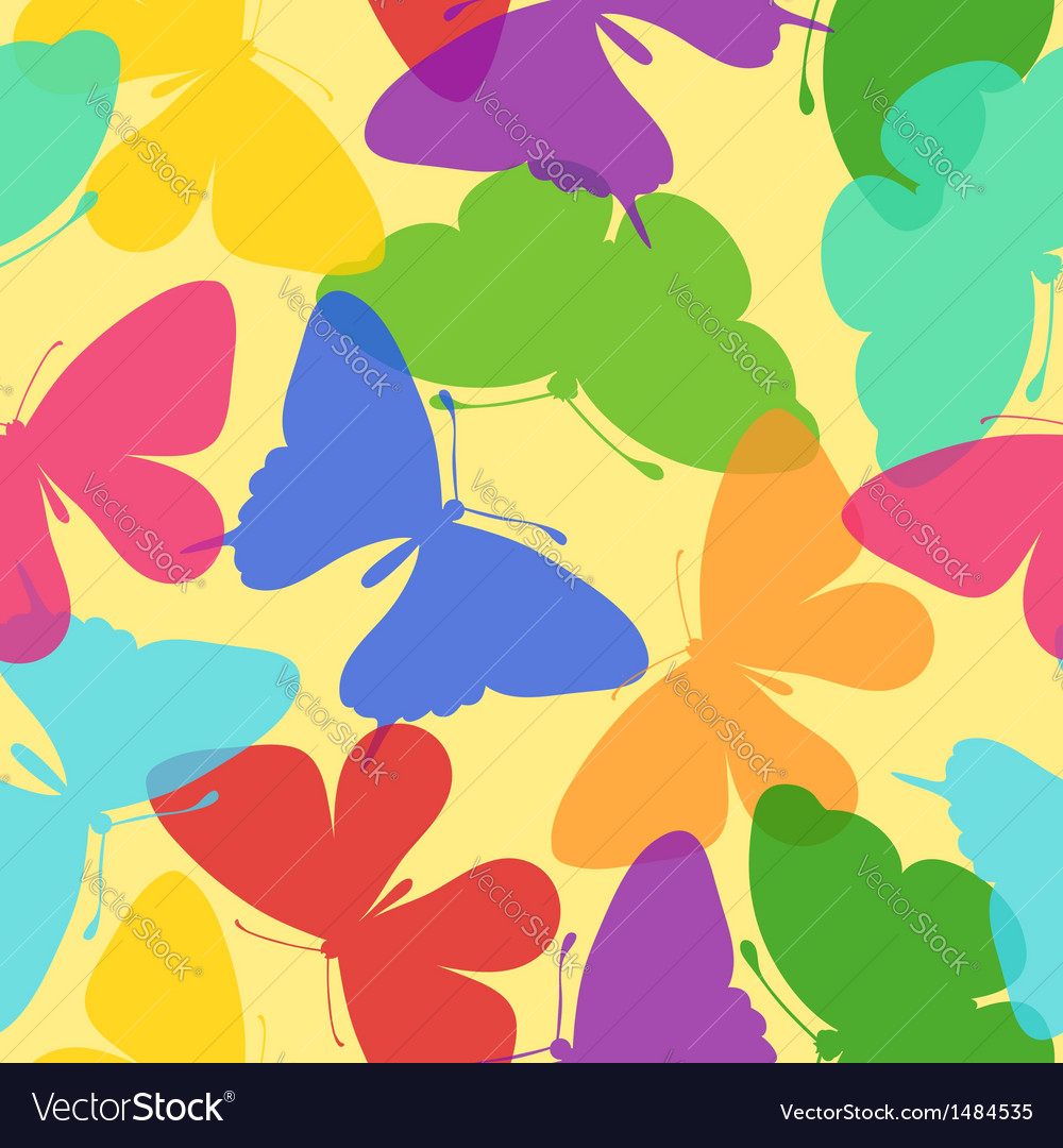 Seamless bright background of butterflies
