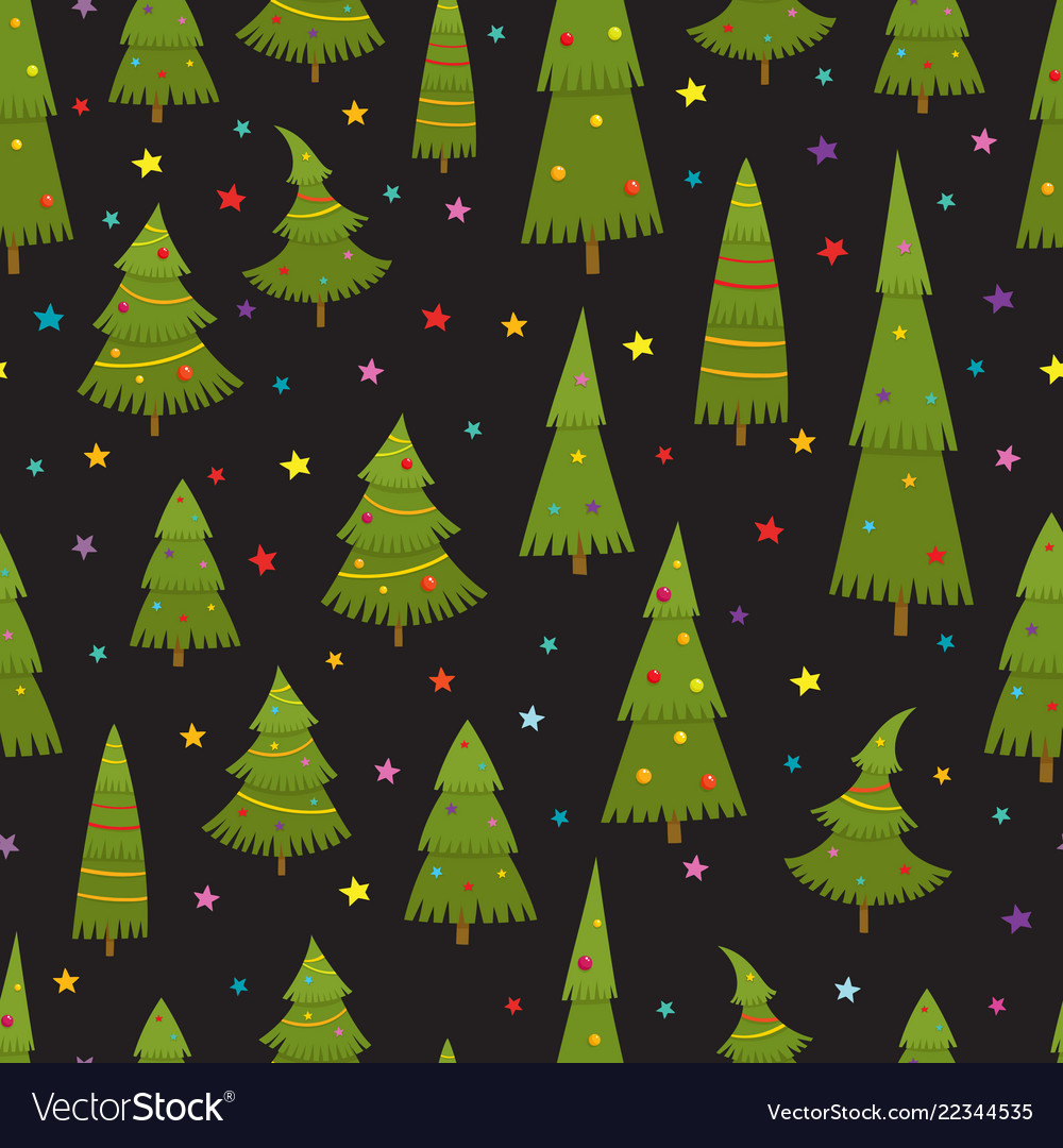 Seamless pattern with christmas tree in cartoon