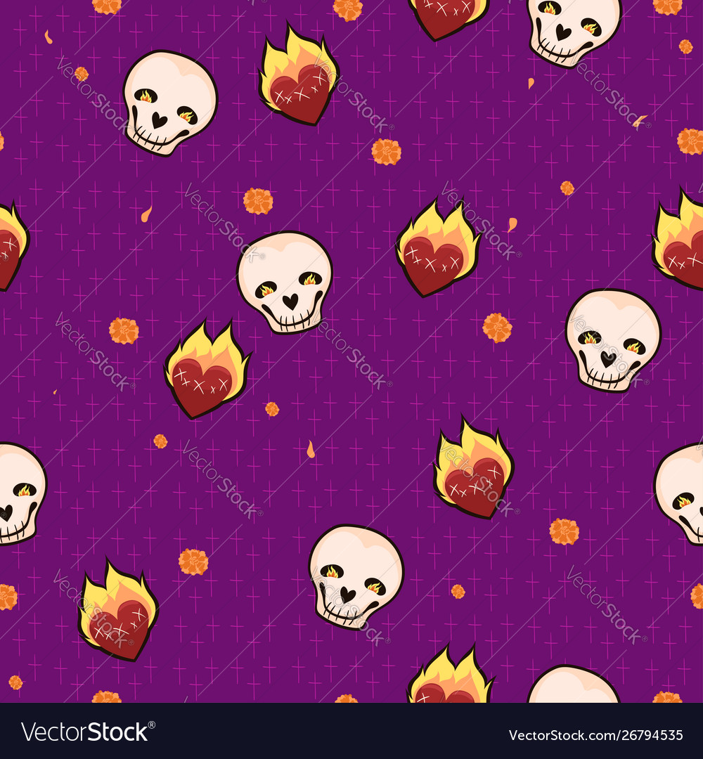 Seamless pattern with skulls hearts and flowers