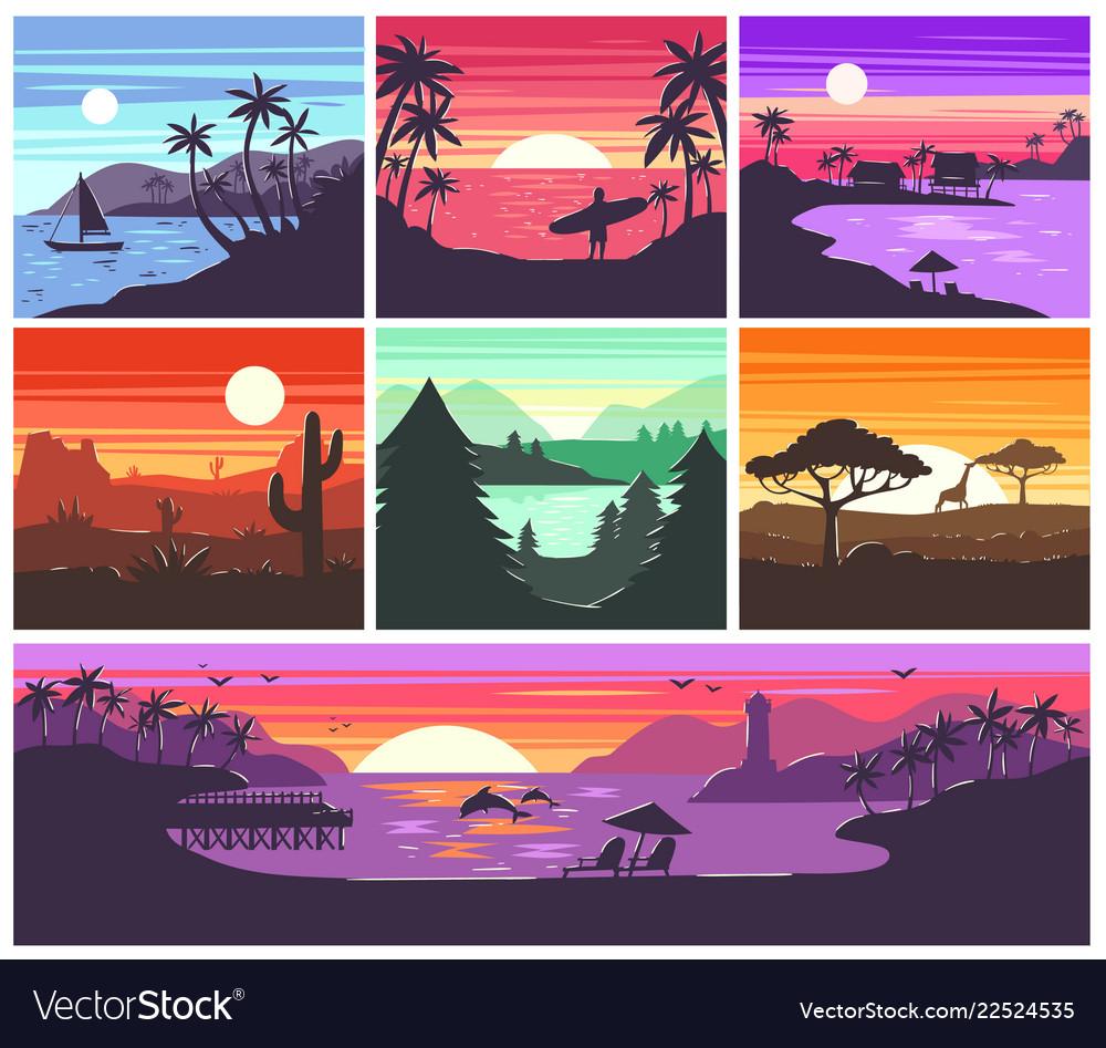 Sunset sunrise with hawaii palms or