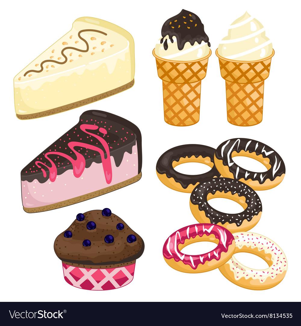 Sweet dessert set Cake ice cream donut cupcake vector image
