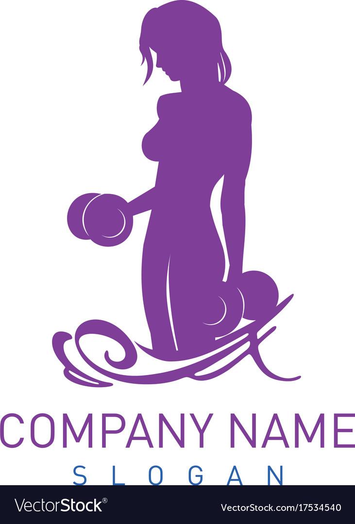 Bodybuilder female logo vector image