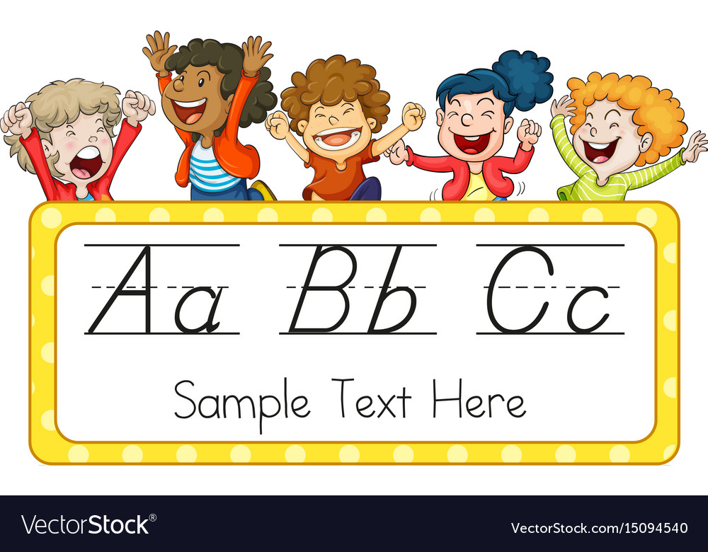 Children and english alphabets vector image