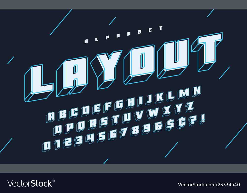Cool 3d design of alphabet typeface font