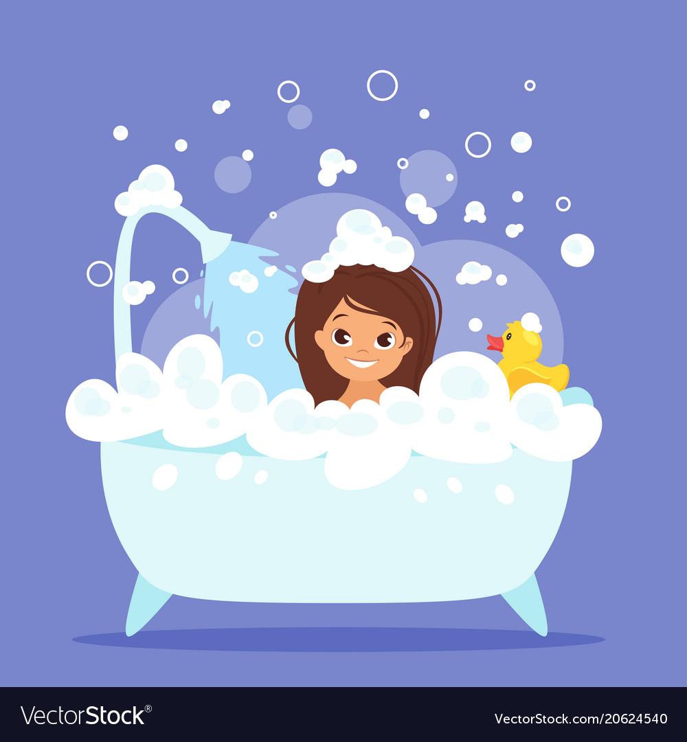Cute Kid Girl Taking Bath Royalty Free Vector Image-3651