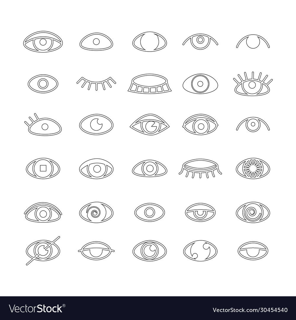 Eye icons set outline style