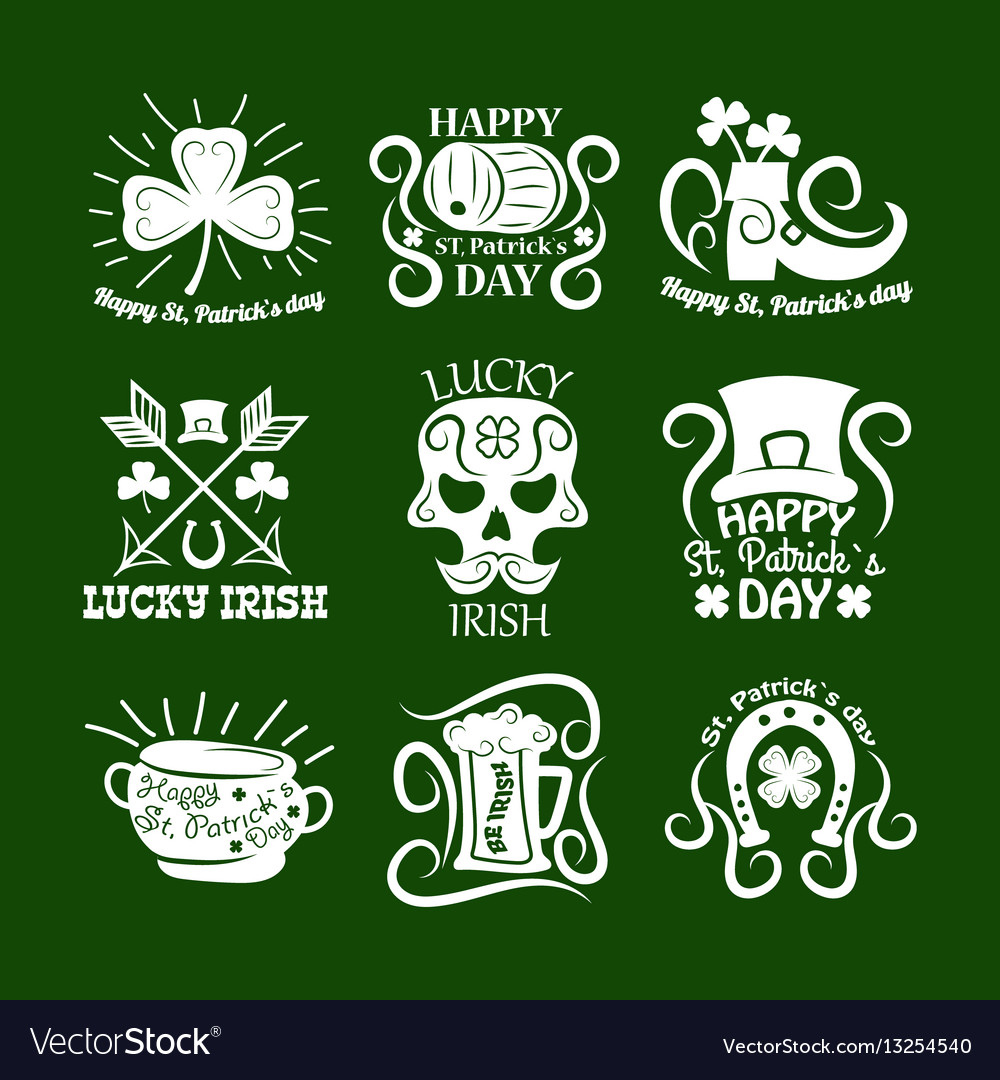 Saint patrick symbols and logos set