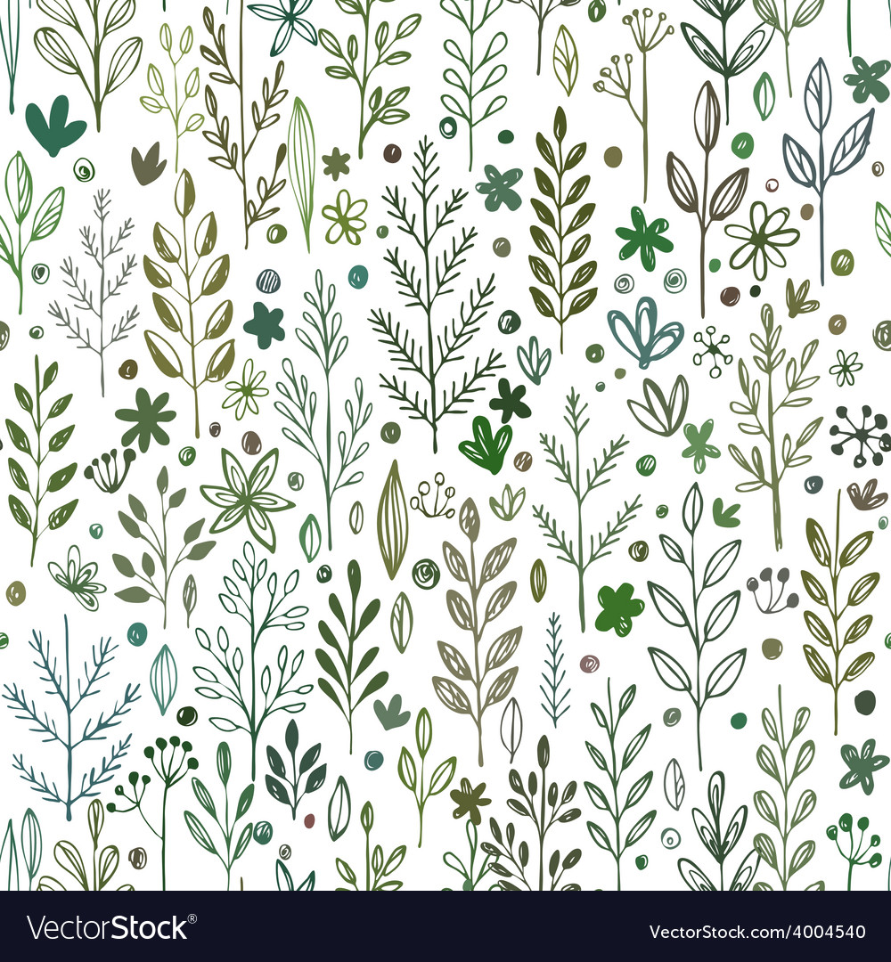 Seamless hands drawn spring pattern with grass and