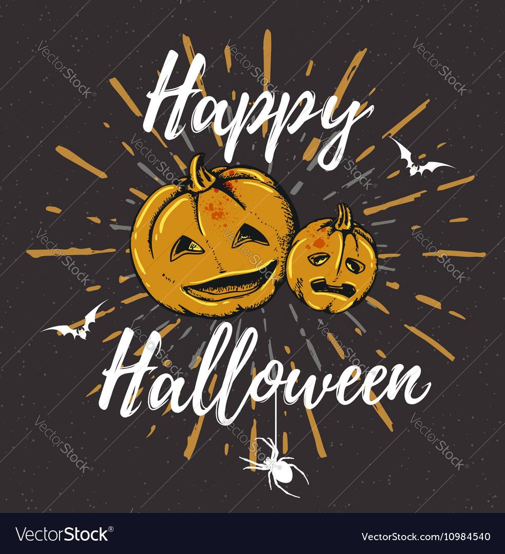 Vintage black Halloween background with pumpkins