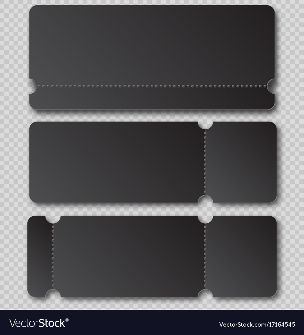 black ticket template with tear off element vector image