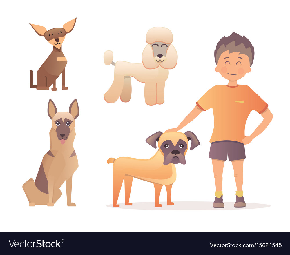 Boy with his dog in flat