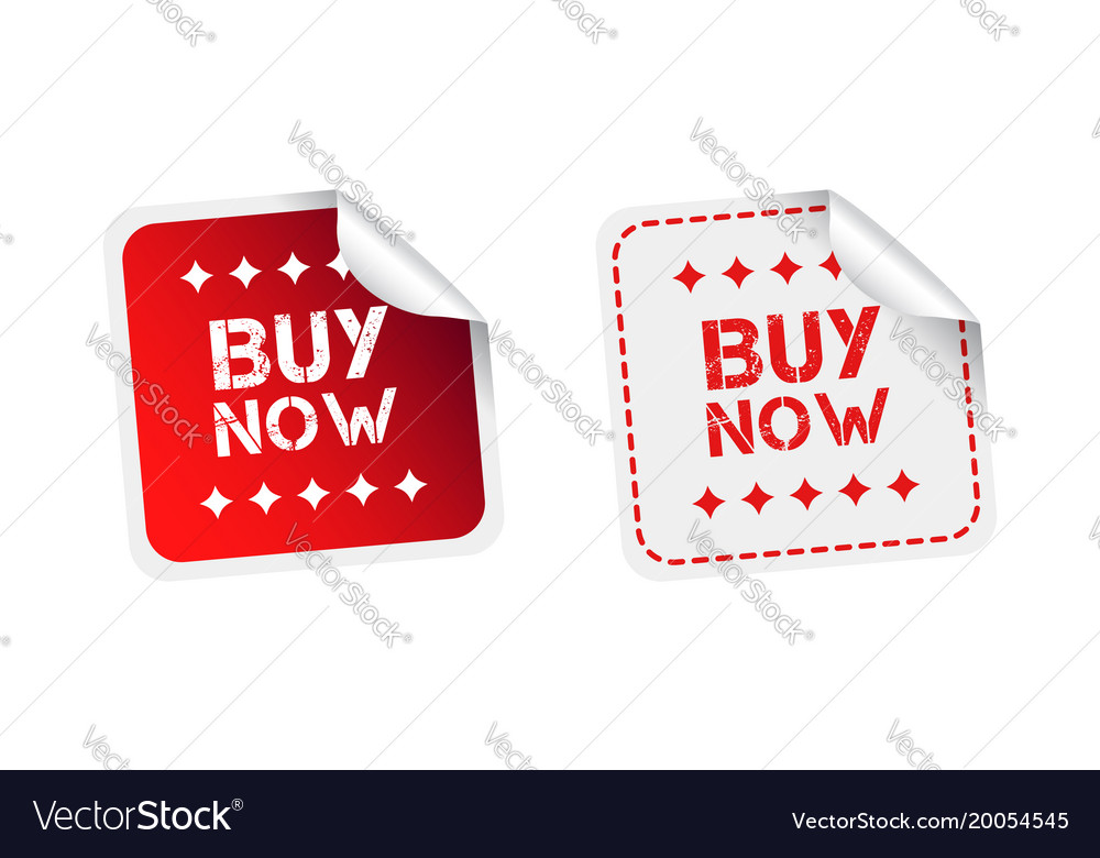 Buy now stickers on white background