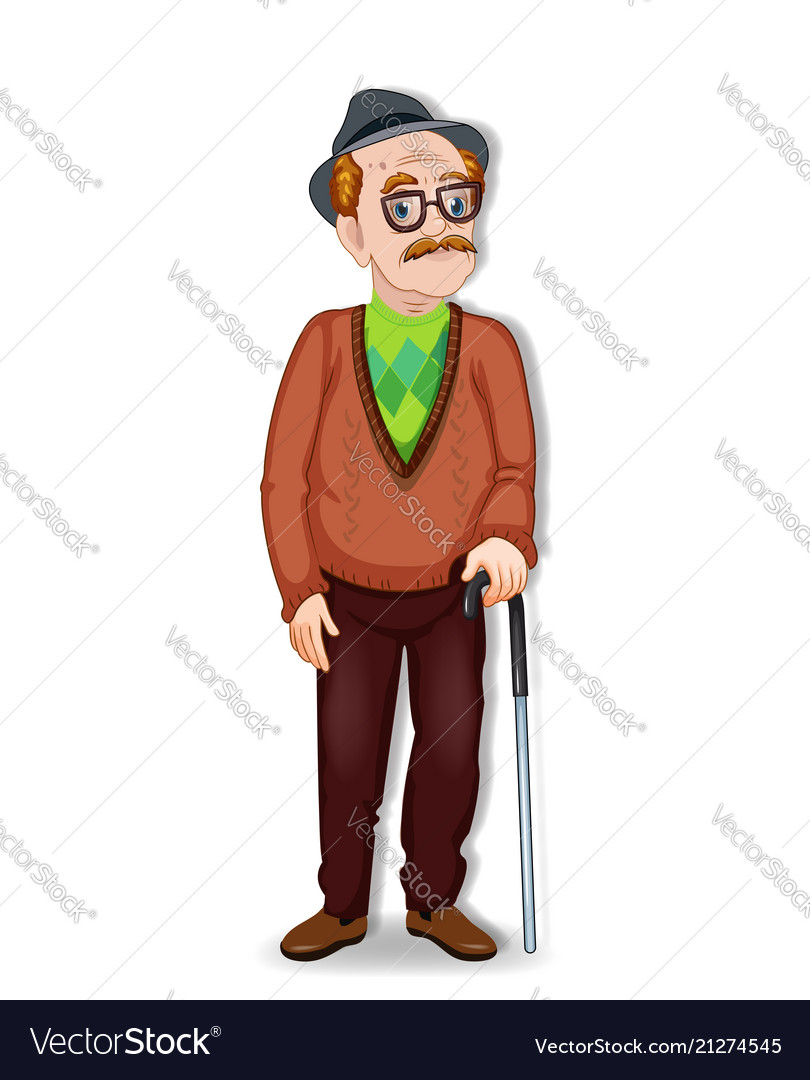 Cartoon of an old man character
