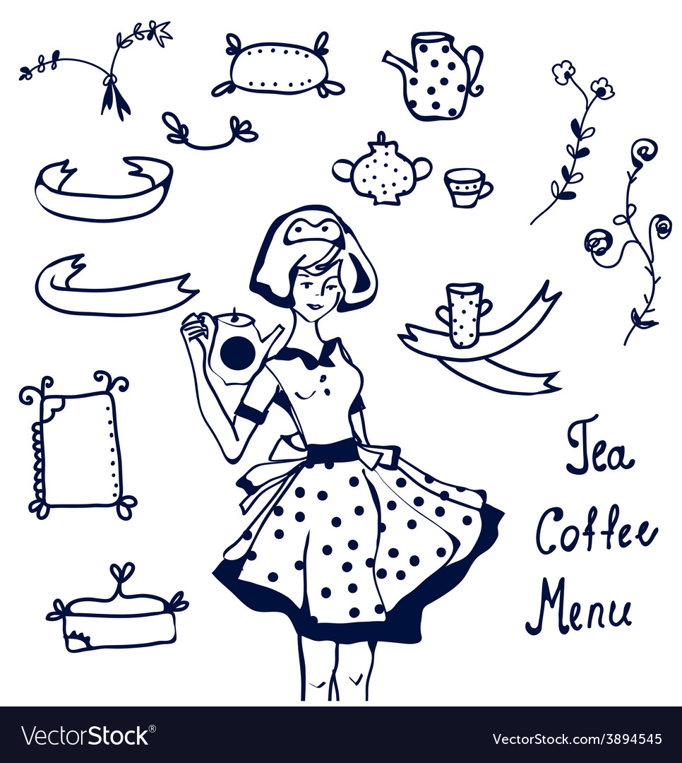 Coffee and tea icons - hand drawn graphics frames
