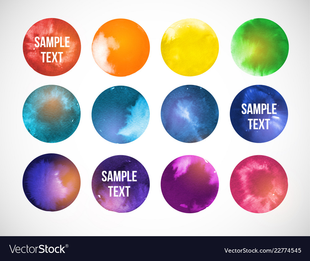 Colored circles with space backgrounds hand drawn