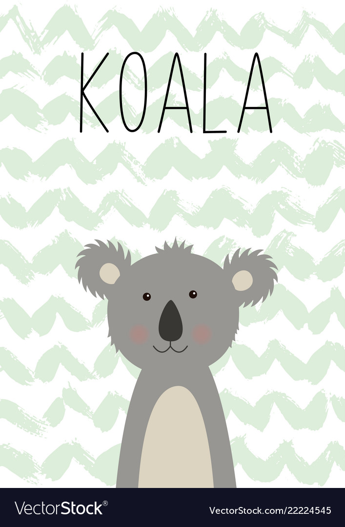 Cute koala poster card for kids