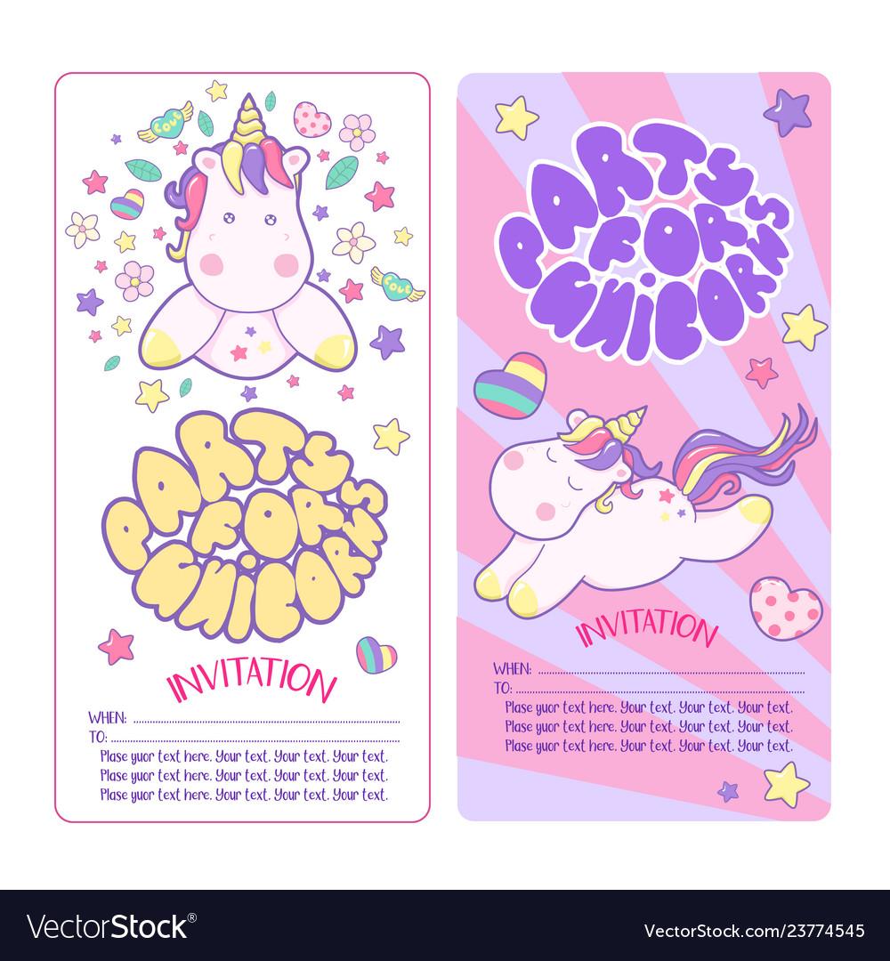 Cute unicorns different magic elements