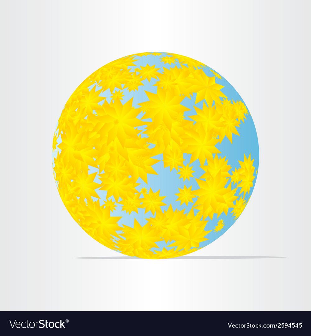 Globe world map with yellow flowers abstract
