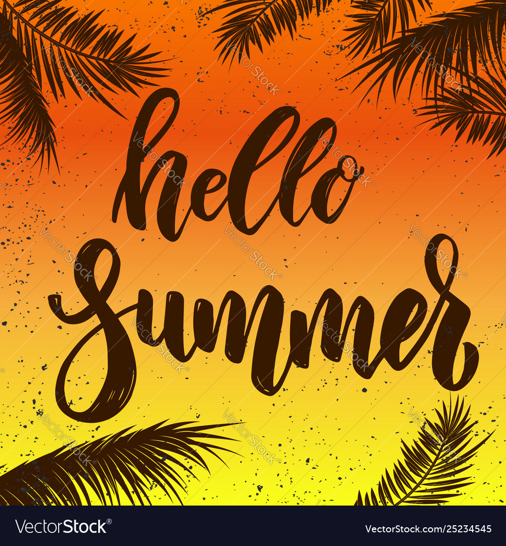 Hello summer lettering phrase on grunge