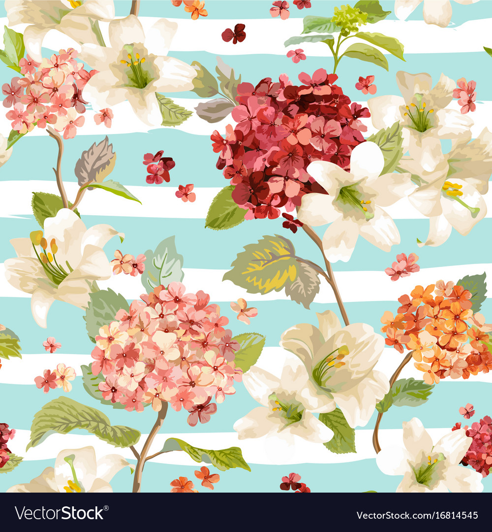 Hortensia and lily flowers seamless background vector image izmirmasajfo