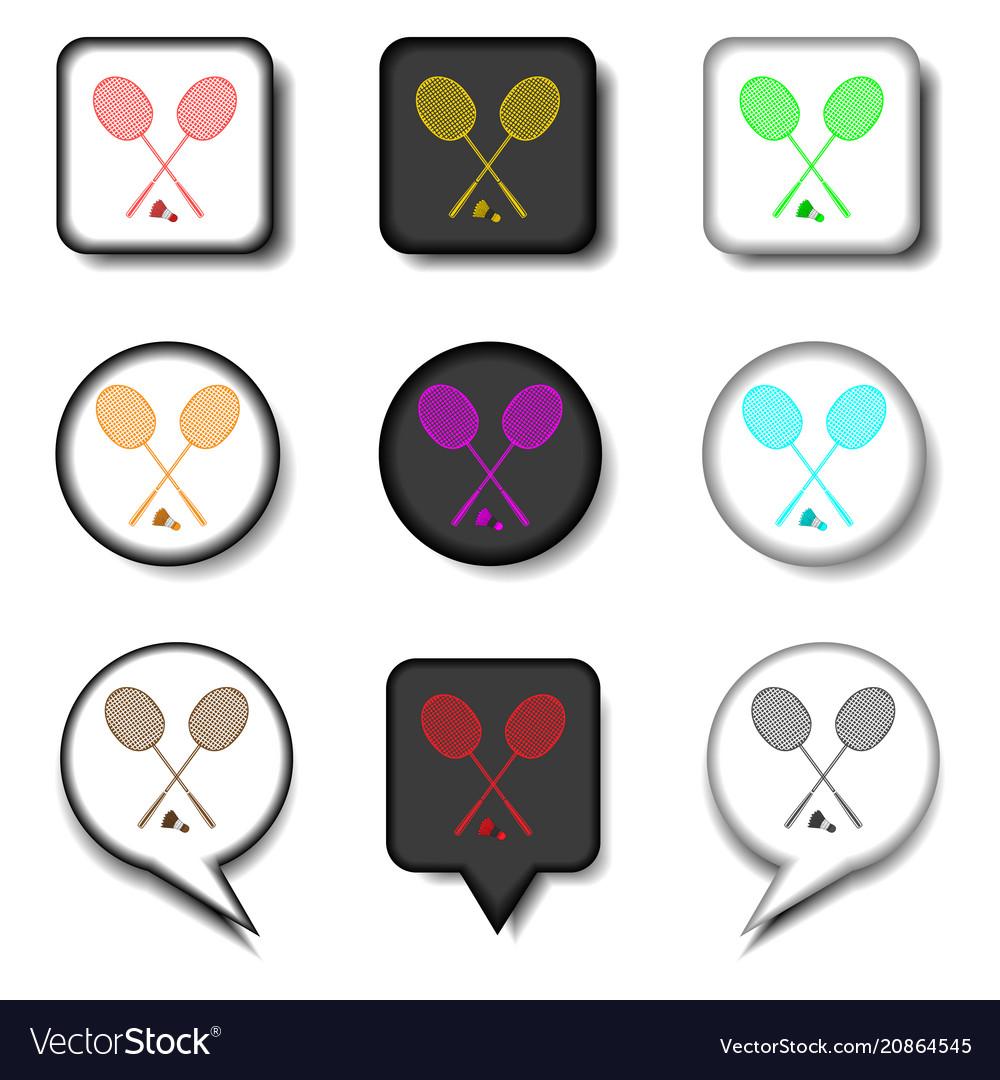 Icons logo from set symbols for racket badminton