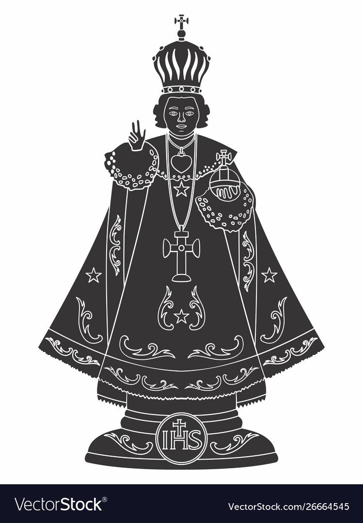 Infant jesus prague black fill