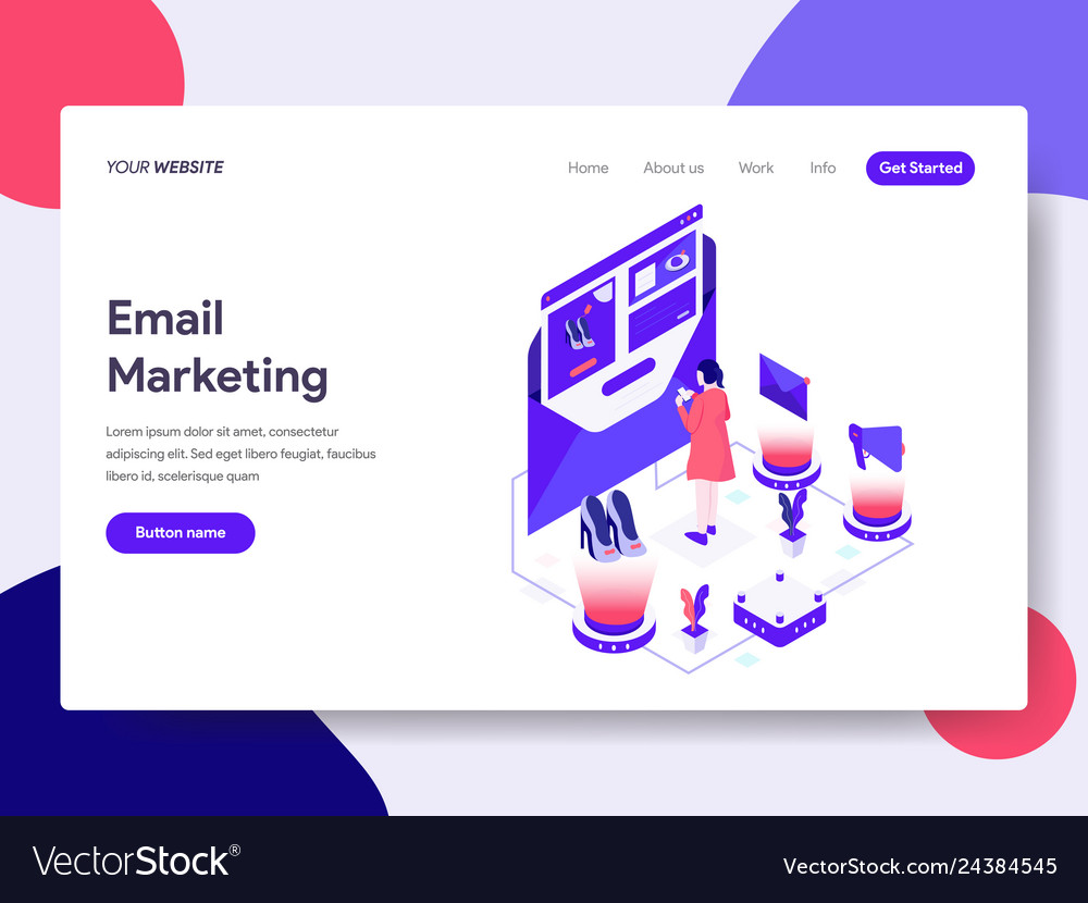 Landing page template of email marketing concept