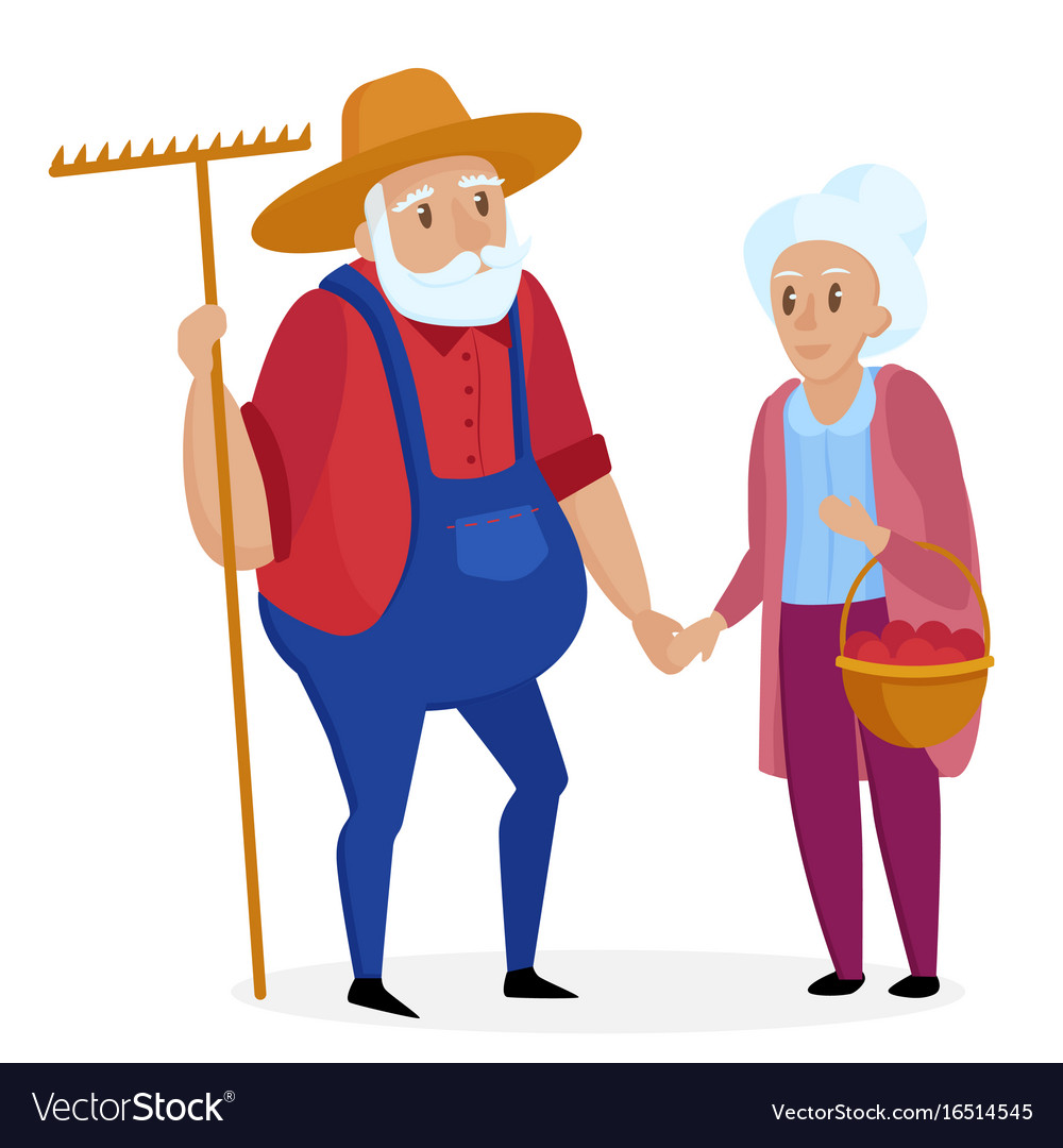 Old farmer with his wife elderly couple senior