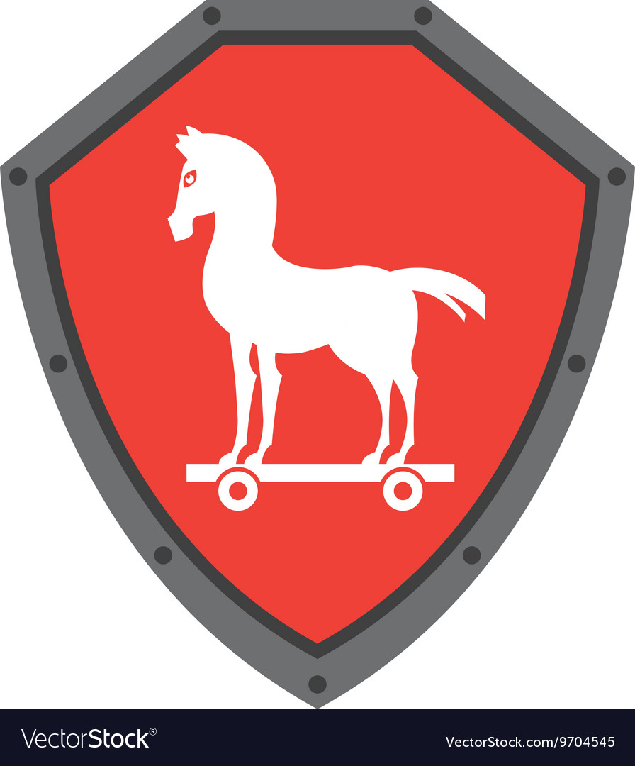 Security Shield With Trojan Horse Isolated Icon Vector Image