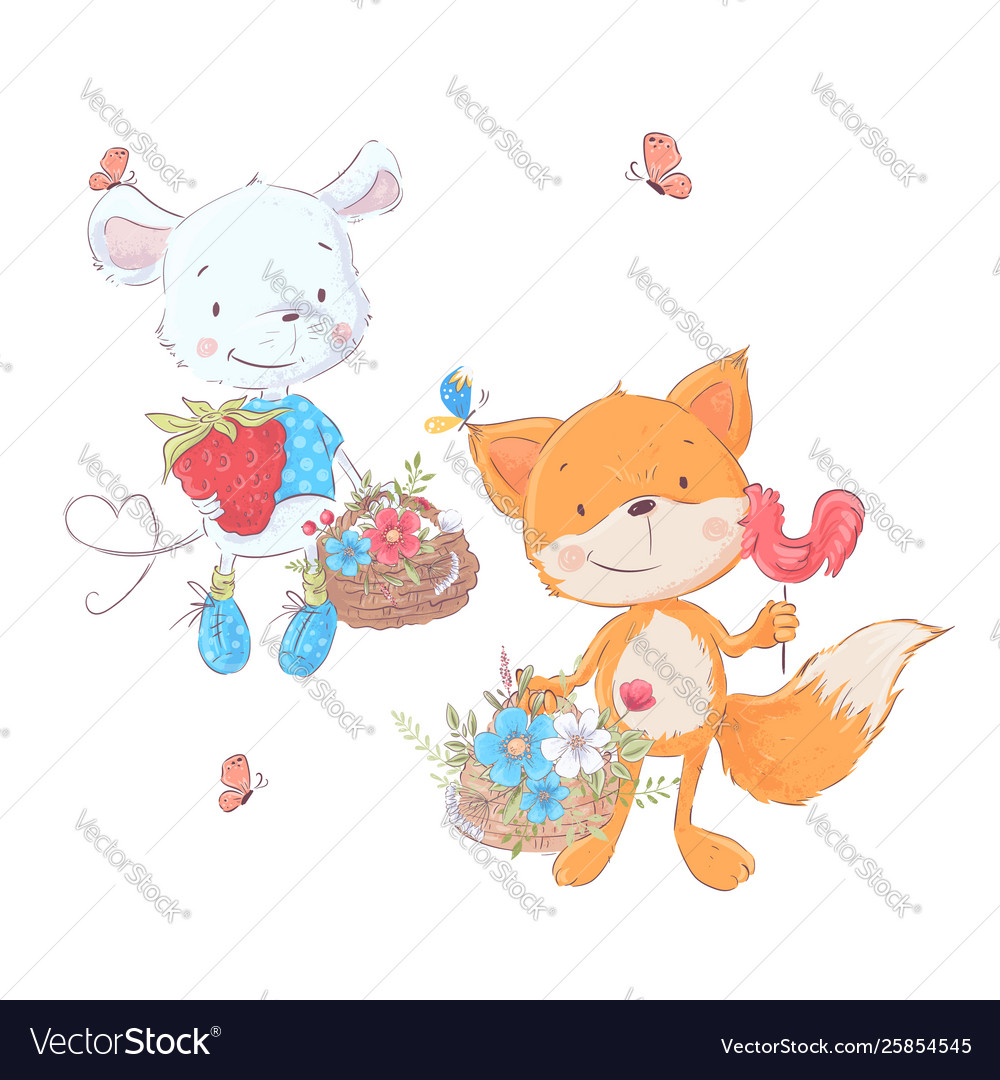 Set cartoons cute animals mouse and fox with