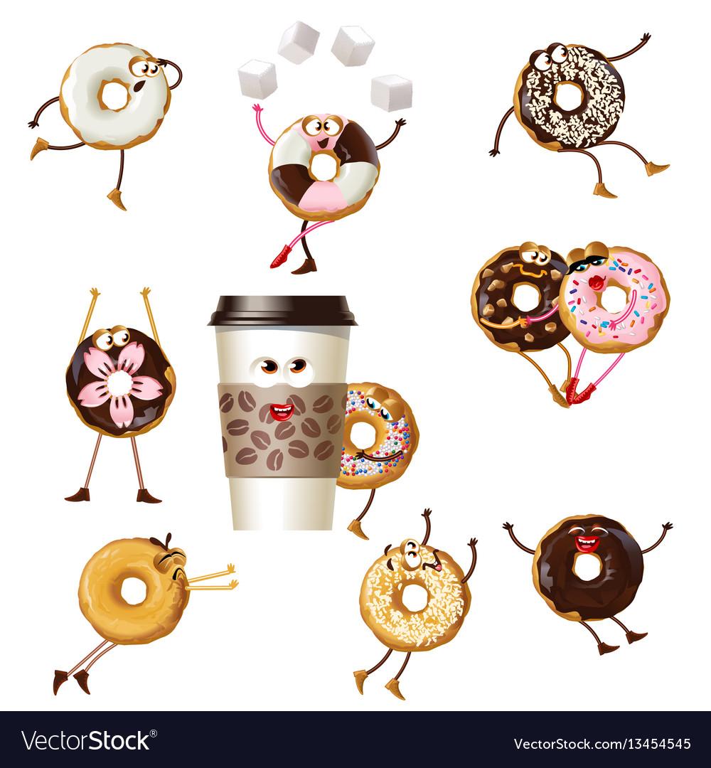 Set icons cartoon characters donuts