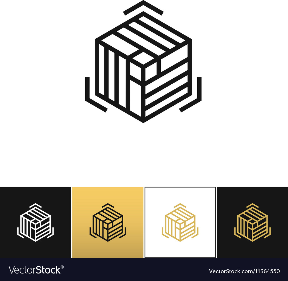 Block or cube 3D structure icon