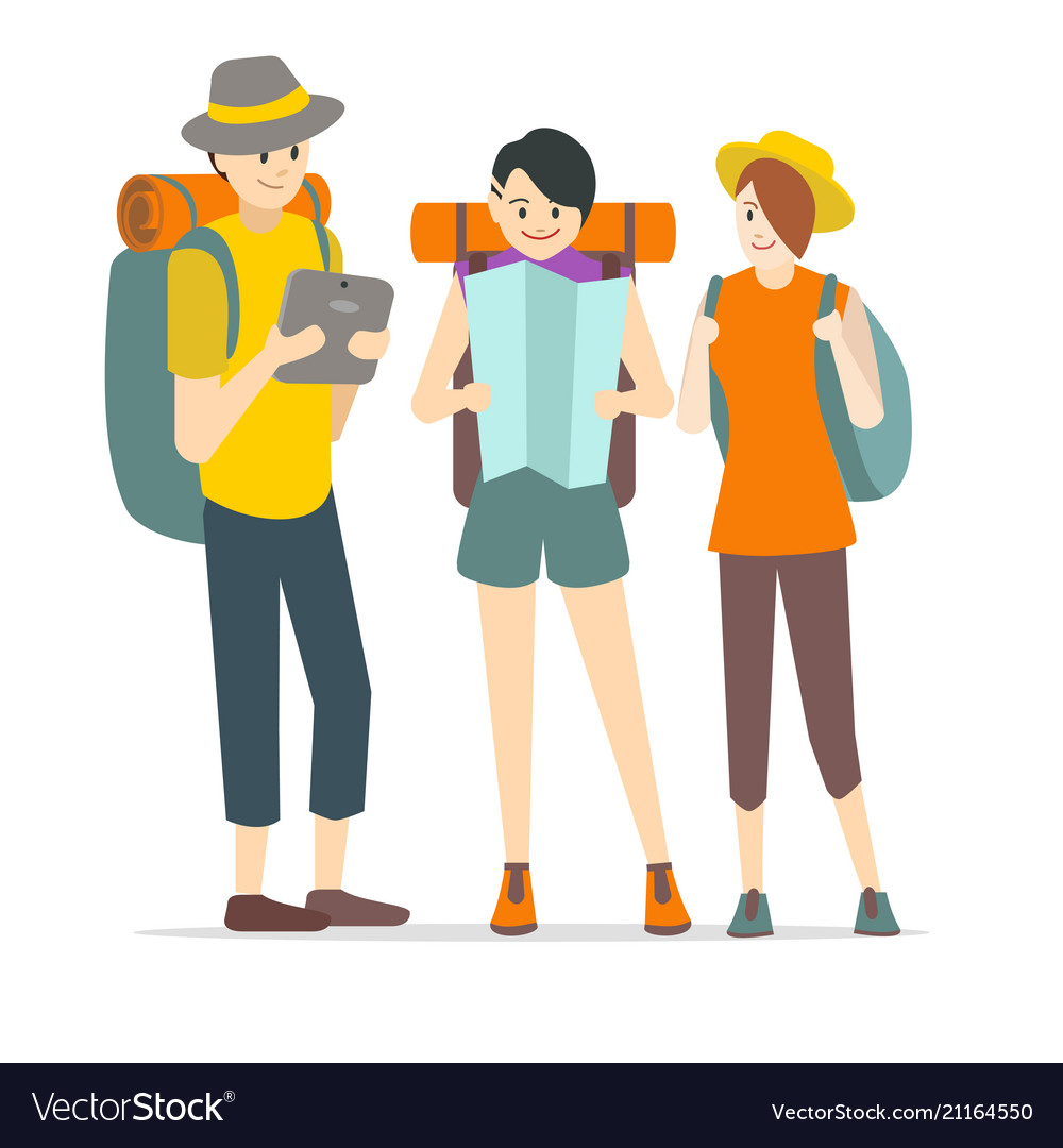 Cartoon characters young people travel set