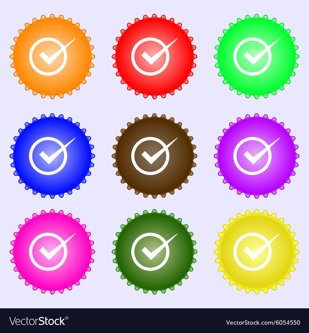 Check mark sign icon Checkbox button A set of nine