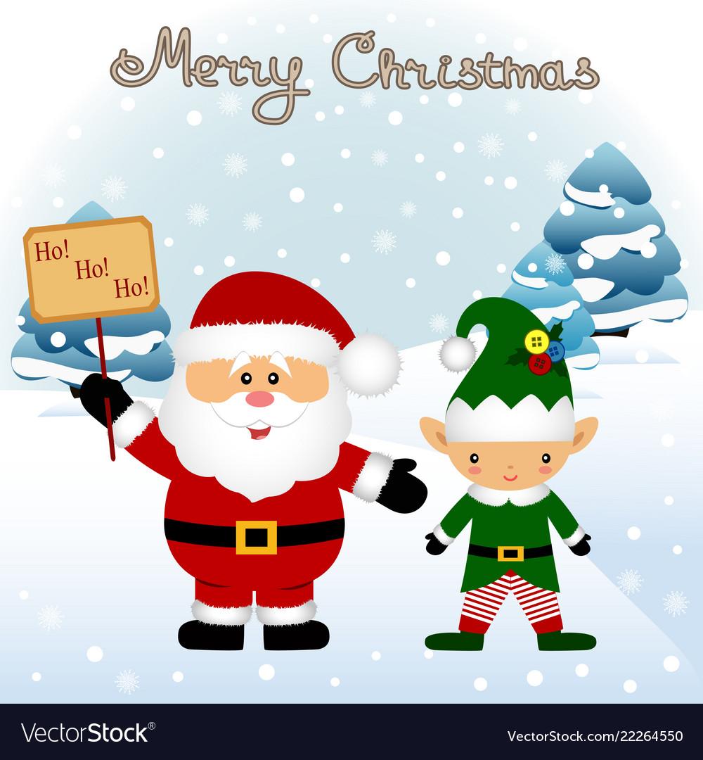 christmas card funny postcard with christmas elf vector image - Elf Christmas Card