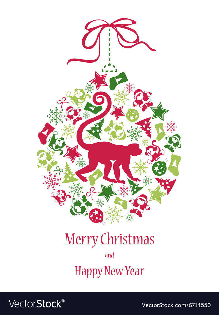 christmas card with monkey in green red colors vector image - Why Are Christmas Colors Red And Green