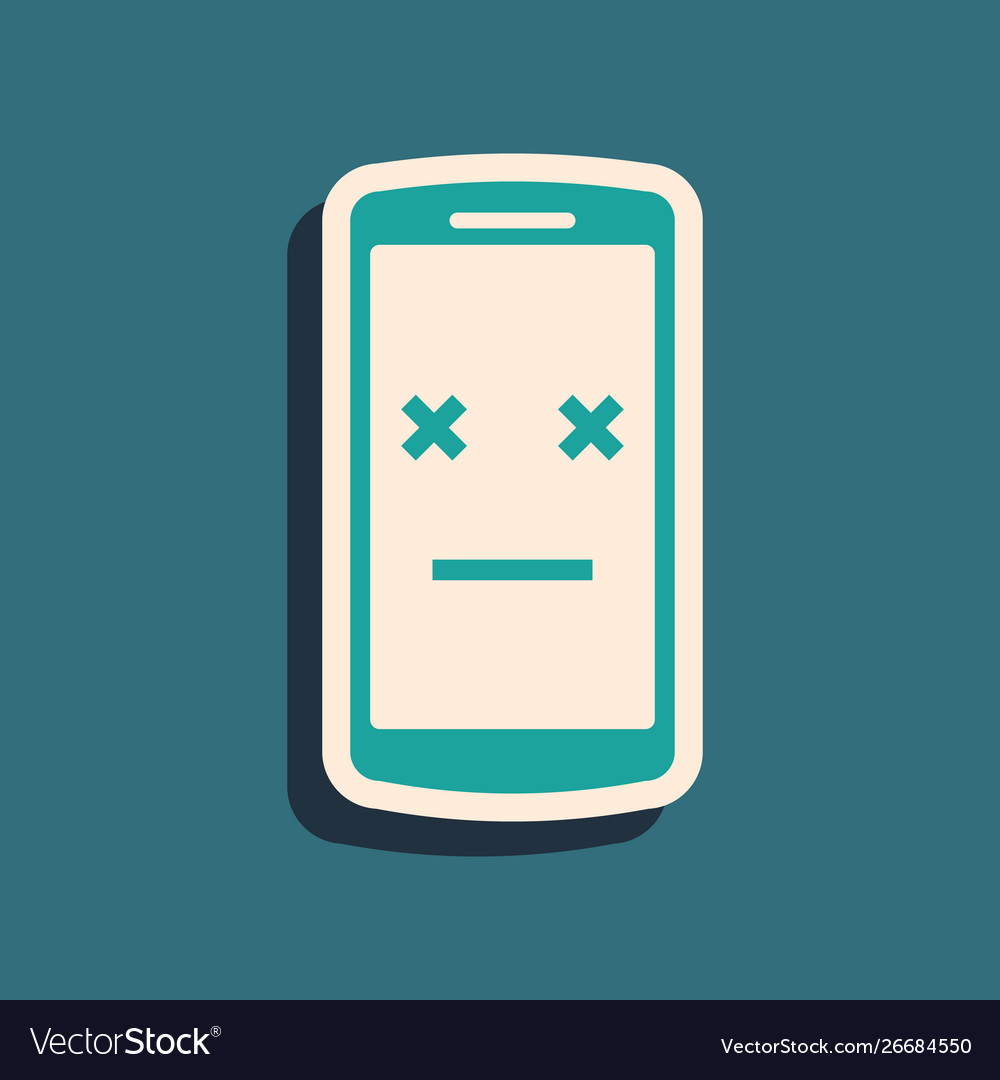 Green dead phone icon isolated on blue background vector image