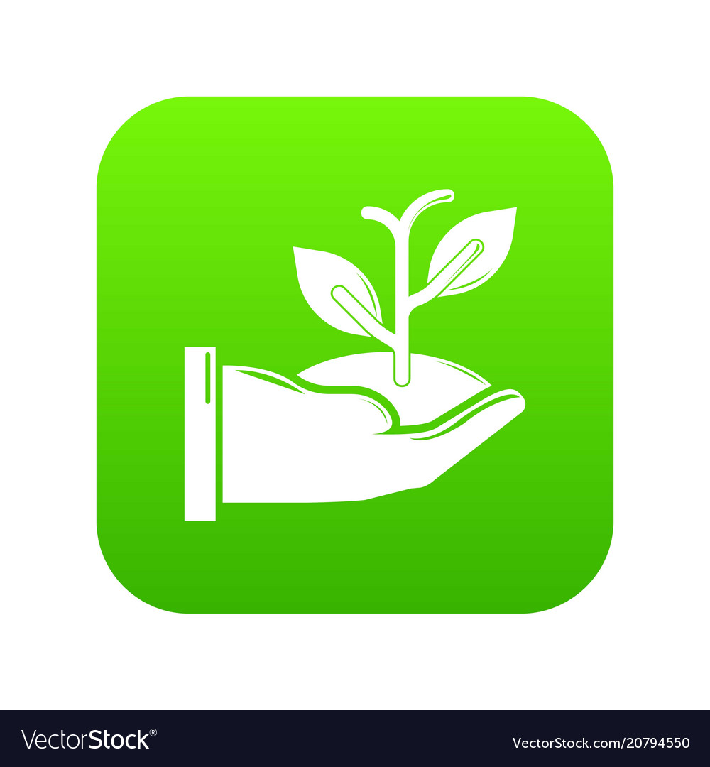 Hand sprout icon green
