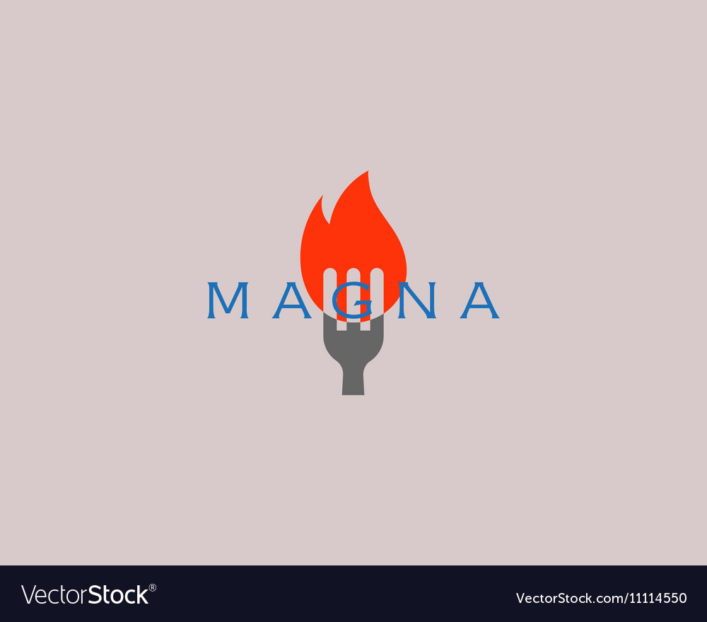Hot pepper chilly grill logo design fork fire vector image