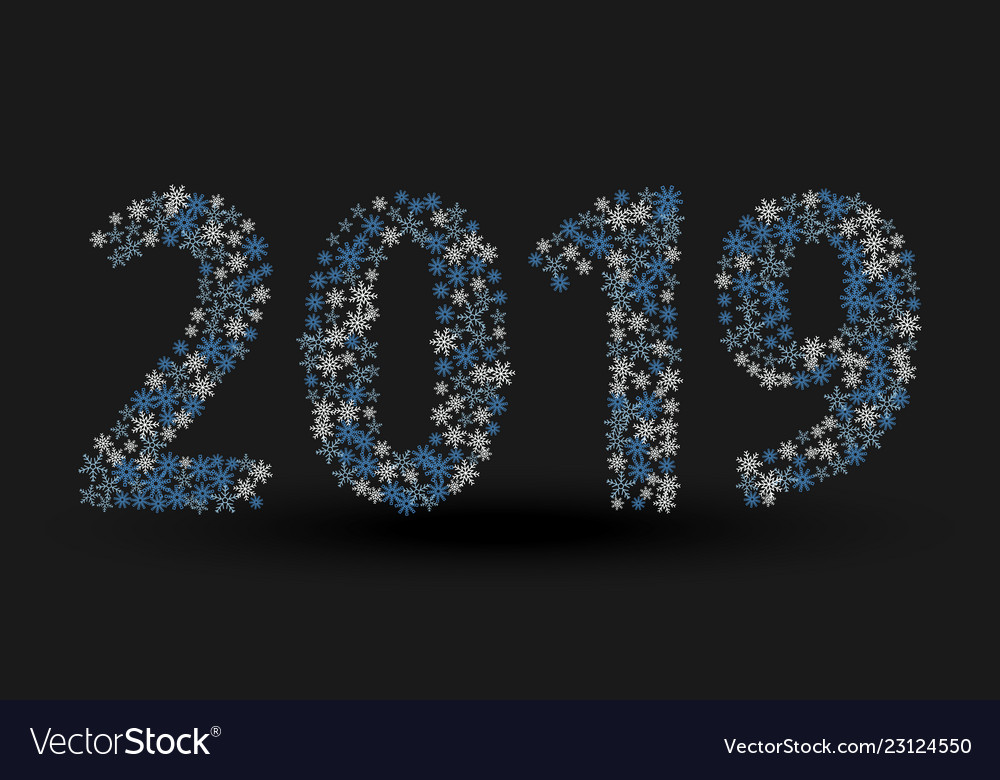 Inscription 2019 isolated on black background