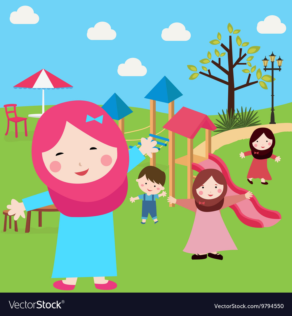 Kids Islam girls and boys having fun in park