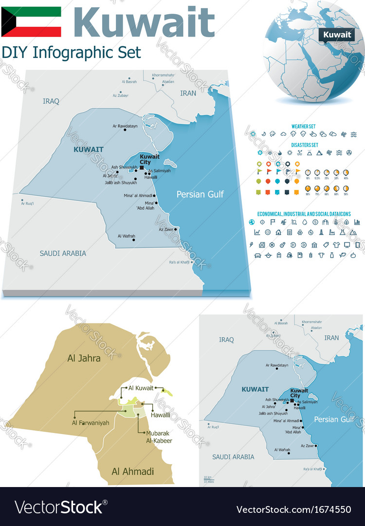 Kuwait Political Map.Kuwait Maps With Markers Royalty Free Vector Image