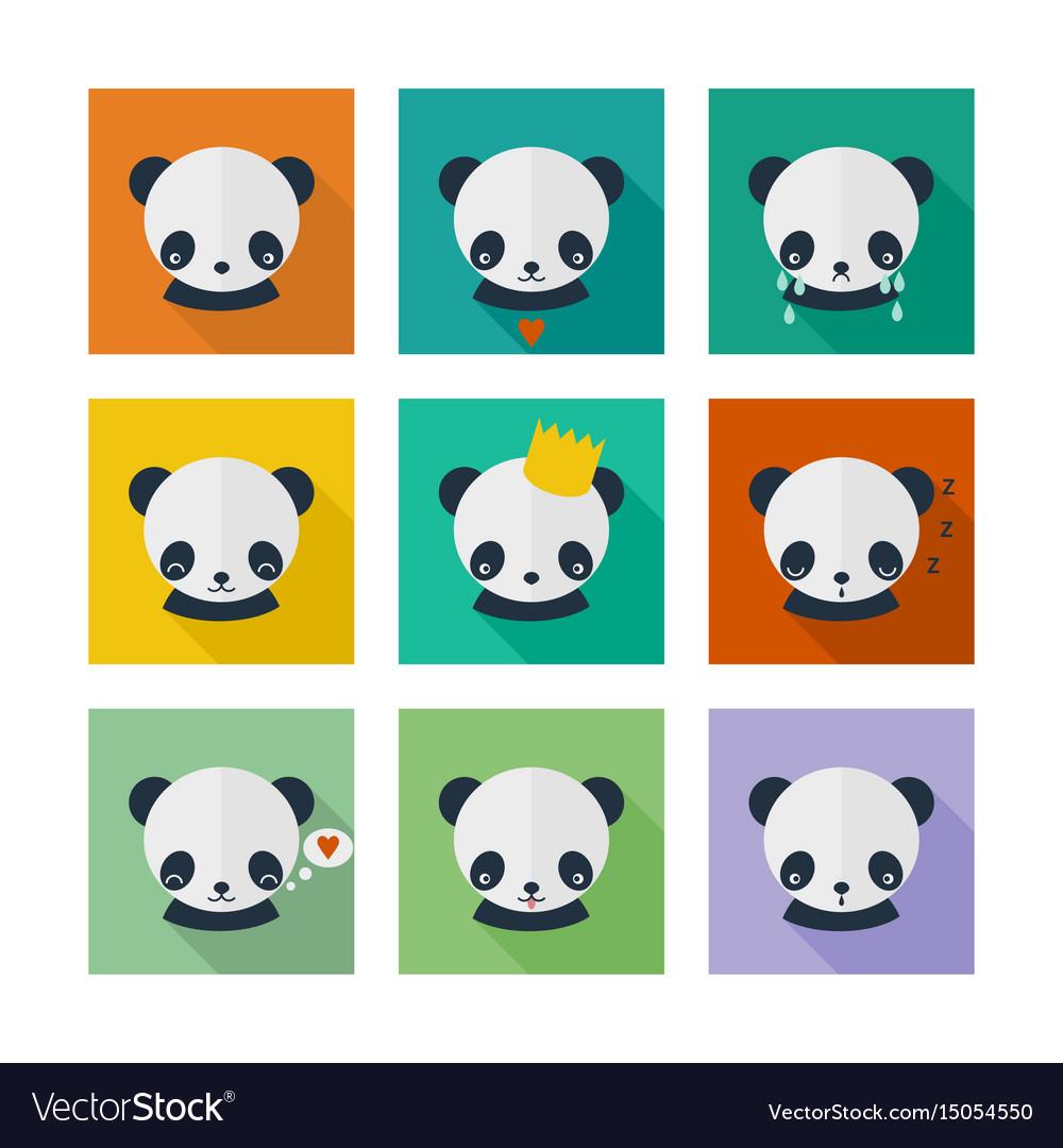 Panda icons set in flat design