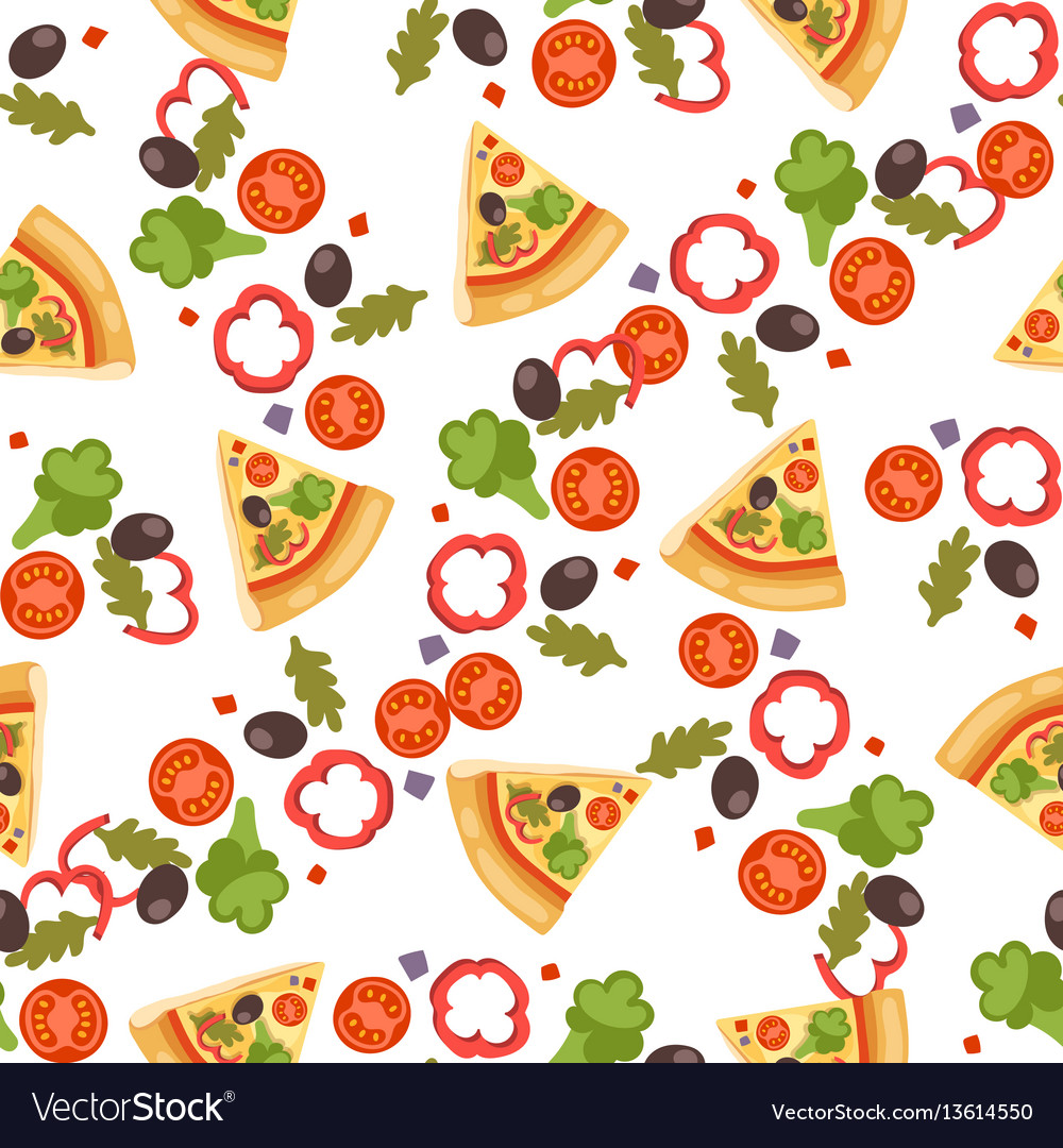 Pizza seamless pattern piece