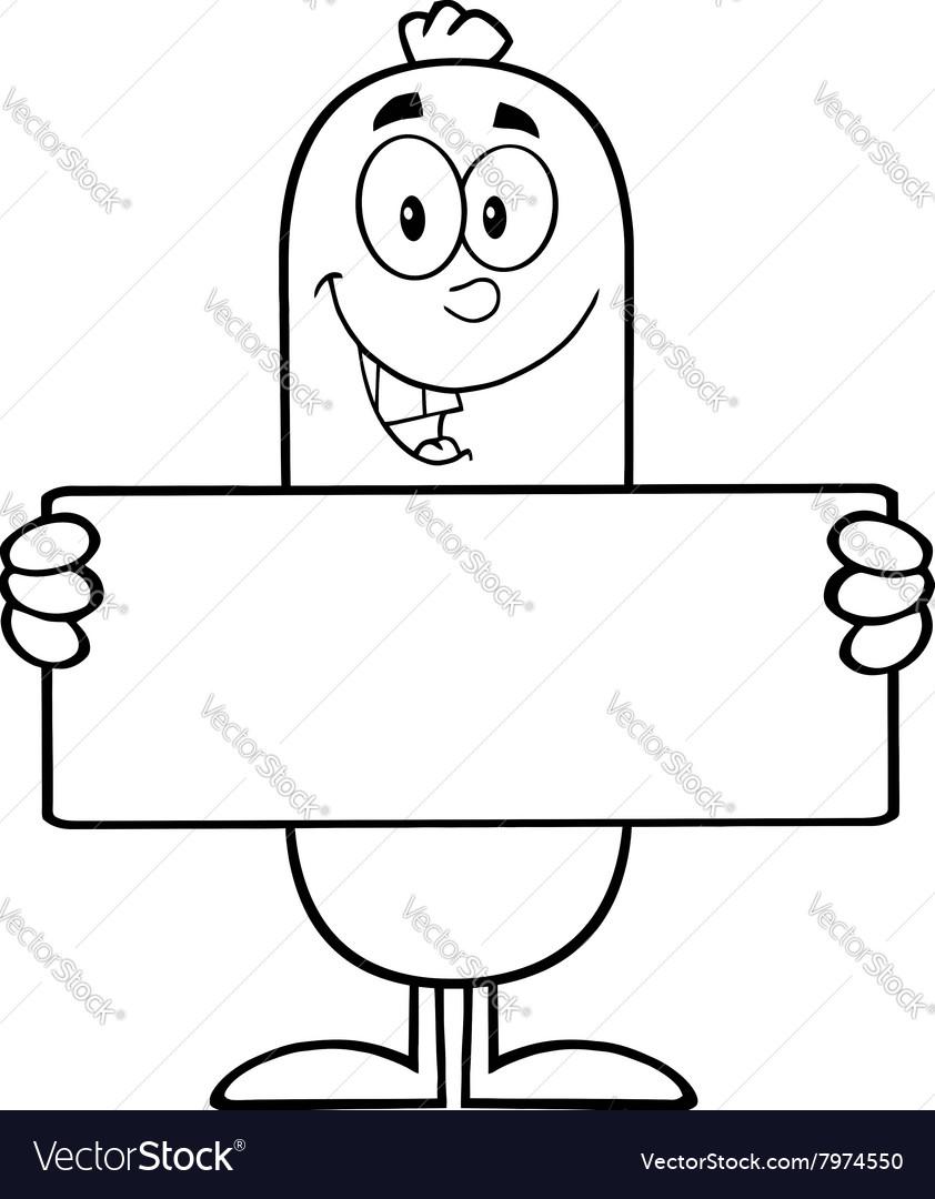 Sausage Cartoon Holding a Sign