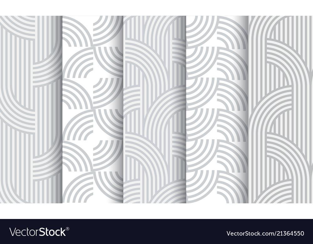 Set of geometric light grey striped seamless