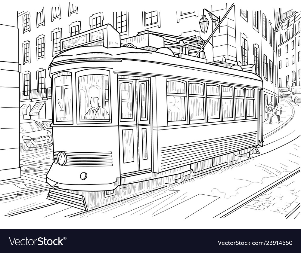 Sketch lisbon tram