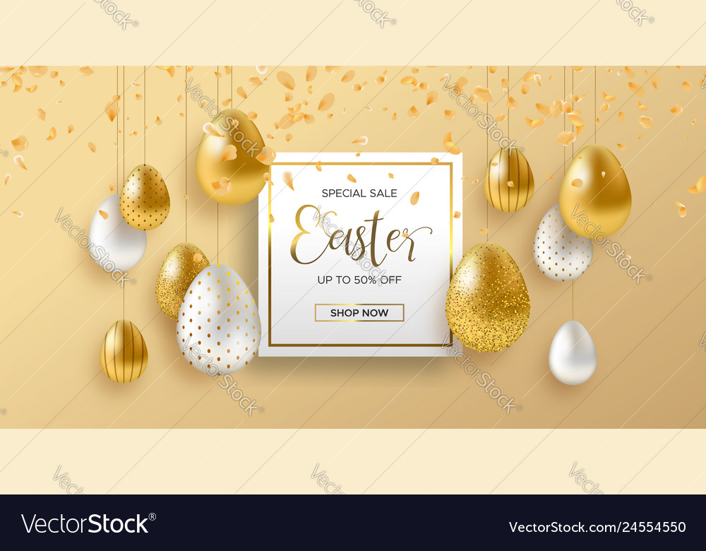 Spring easter web sale banner with gold luxury egg